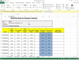 Fulla Excel Registre d'Hores