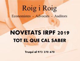 IRPF 2019 NOVETATS I PREGUNTES FREQÜENTS